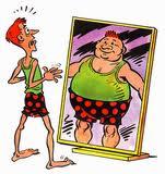 skinny man in mirror