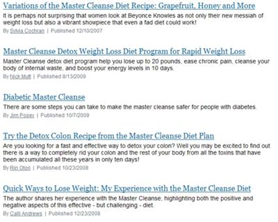 Snapshot from the Master Cleanse Articles